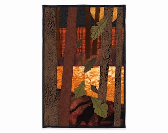 Autumn Quilt Art Wall Hanging, Forest Sunset, 3-D Oak Leaves, Sunset Over the River with Water Reflection