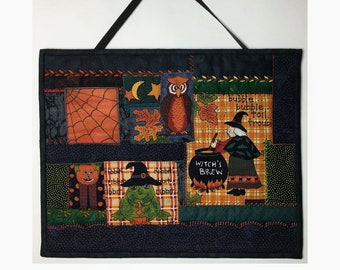 Halloween Quilted Wall Hanging, Crazy Patchwork Style, Witch's Brew, 11 Inches Long x 13 Inches Wide