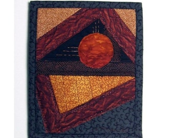 Sun Art Quilt Wall Hanging, Crazy Quilt Beaded Textile Collage