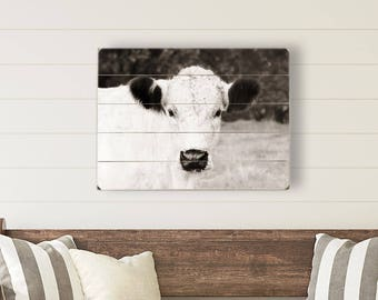 Farmhouse Wood Sign, Wood Plank Wall Art, Cow Photo, Photograph on Wood, Rustic Home Decor, Cow Photography Art on Wood Rustic Wood Wall Art