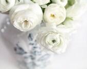 Ranunculus Print, White Ranunculus Photo, Cottage Home Decor, Ranunculus Canvas Art