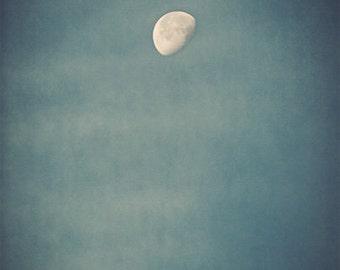 Moon Photograph - sky, night, summer, phase, blue, dark, teal, aqua - Rise of the Moon silk road inspiration