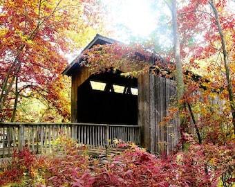 Covered Bridge in Autumn Photo, Autumn Colors Photograph, Covered Bridge Print, Covered Bridge Canvas Art