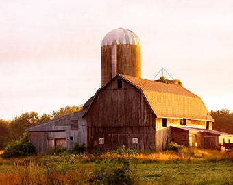 Sunset Barn Photo, Country Landscape Photograph, Farmhouse Wall Decor, Barn at Sunset Photo, Barn Canvas Art