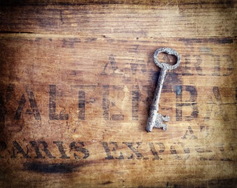 Rusty Key Photograph, Farmhouse Kitchen Decor, French Country Art, Rustic Home Decor, Country Kitchen Wall Art, Vintage Wall Decor