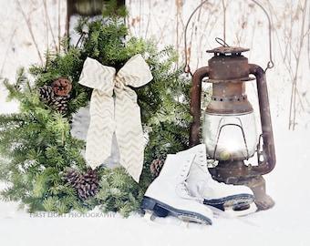Christmas Wall Decor, Winter Photography, Christmas Wreath Still Life, Winter Farmhouse Wall Art