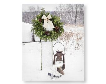 Winter Photography, Christmas Wall Decor, Christmas Wreath Still Life, Winter Farmhouse Wall Art