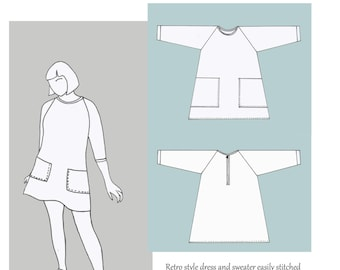 Weekend Doris Dress and Sweater sewing pattern by Lazy Seamstress PDF