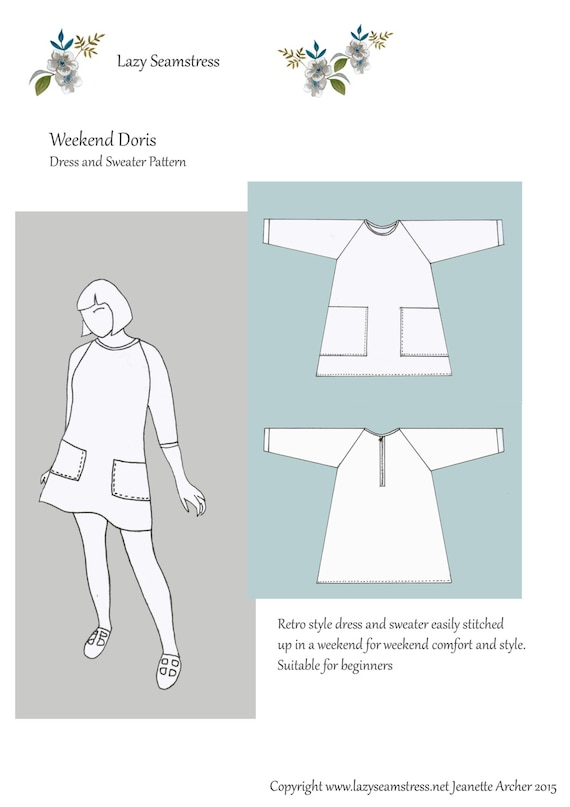 Weekend Doris Dress and Sweater sewing pattern by Lazy | Etsy