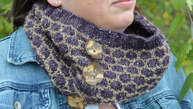 Button Up Honey Cowl A Knit Pattern For A Cowl In Fingering Etsy