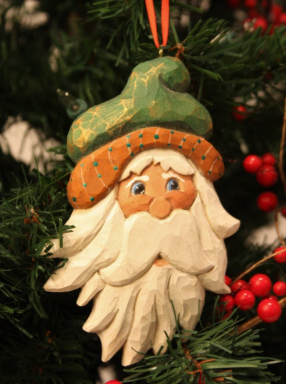 Hand Carved Jolly Gent Christmas Ornament Whittled Hand Etsy