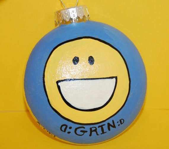 image 0 - Facebook Emoticon GRIN Christmas Tree Ornament Hand Painted Etsy