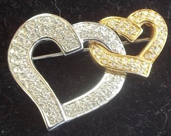 385bb7692d79 Swarovski Vintage Brooch Brilliant Ice Rhinestone Double Hearts
