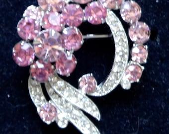 115f1042e Dazzling EISENBERG Ice Vintage Brooch Pink & Ice Rhinestone Ribbons, Eisenberg  signed, Vintage jewelry