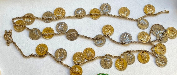 LISNER Vintage Necklace Chunky Golden & Silver Coi