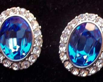 YVES ST LAURENT Haute Couture Vintage Earrings Brilliant Blue & Ice Rhinestones