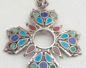 ART Vintage Necklace Colorful Cabochon Double Chain MALTESE CROSS Pendant