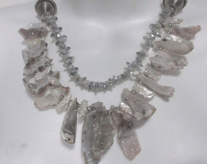 Chalcedony Geode Slices and Pearls Statement Necklace