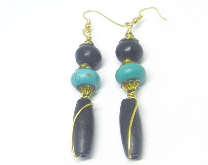 Black and Turqouise Wirewrapped Earrings