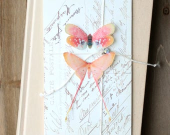 collection no. 33 . 2 pink silk butterflies number 42, 43 . hair clips, pins, magnets . realistic gifts birthday, prom, wedding, bridesmaids