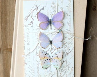 collection no. 38 . purple silk butterflies number 54, 55, 58 . hair clips, pins, magnets . realistic gifts wedding, bridesmaids, party