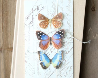 collection no. 36 . blue silk butterflies number 89, 95, 227 . hair clips, pins, magnets . realistic gifts wedding, bridesmaids, favor