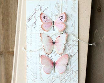 collection no. 37 . pink silk butterflies number 31, 32, 35 . hair clips, pins, magnets . gifts wedding, bridesmaids, party, prom, sweet 16