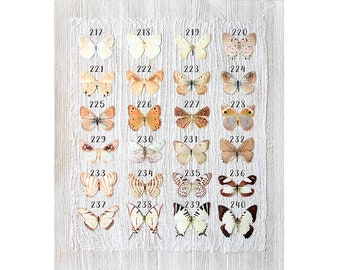 champagne gold fawn light brown silk butterflies . 1-20 hair clips, pins, magnets . your choice . birthday gift, wedding, bridesmaids