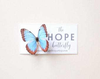 the HOPE butterfly . handmade blue silk hair clip . bar pin . peace tranquility faith love serenity metamorphosis miscarriage nurse gift