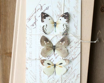 collection no. 31 silk butterflies number 20, 23, 246 . white and brown . hair clips, pins, magnets . realistic gifts wedding, bridesmaids