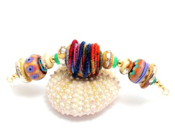 Tribal Bead Necklace.  Boho Southwest Necklace. Gifts For Women. Colorful Tribal Glass Beads. Handmade Fiber Bead. Glass Bead Jewelry.