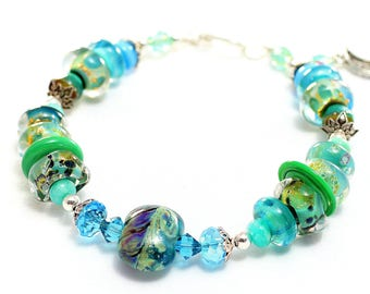 Handmade Glass Bead Bracelet. Turquoise Lampwork Bead Bracelet. Artisan Glass Beads. Bohemian Gypsy Bracelet. Holiday Gifts For Her.