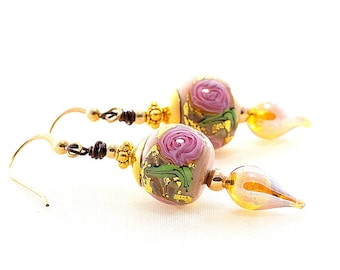 Lavender Lampwork Bead Earrings. Dangle Drop Glass Bead Earrings. Artisan Glass Headpins. Elegant Gifts For Her. Lampwork Bead Jewelry.