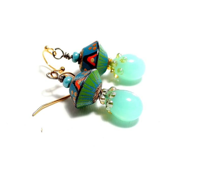 Artisan Lampwork Bead Headpins Petite Boho Dangle Drop Earrings Handmade Clay Tribal Beads Light Turquoise Colors Glass Bead Jewelry.