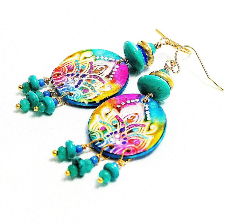 turquoise dangle polymer clay earrings