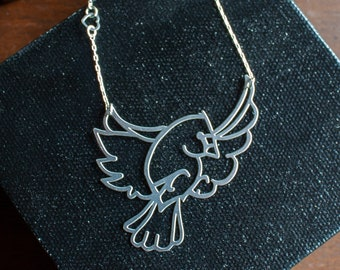Birdy: Stainless Steel and Sterling Silver Necklace