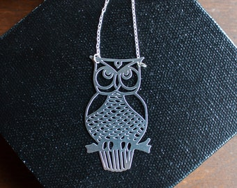 Give a Hoot: Laser Cut Stainless Steel and Silver Necklace