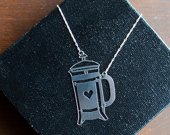 French Press: Laser Cut Stainless Steel and Sterling Silver Necklace