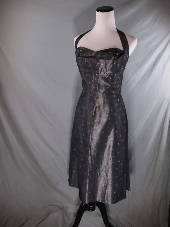 Vintage brocade halter wiggle dress 1950s