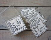 Set of Vintage Paper Cocktail Napkins in Plastic Case - Black and White Image of Japanese Garden - RESERVED FOR KIMBERLEY
