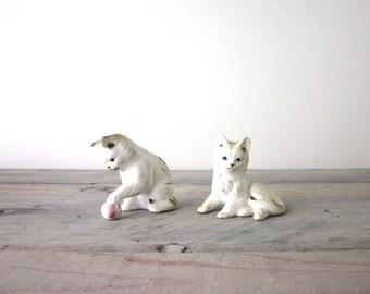 Two Cat Figurines Bone China