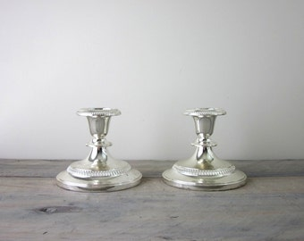 Set of Two Silverplated Candle Holders