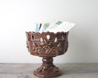 Brown Pottery Planter or Footed Dish