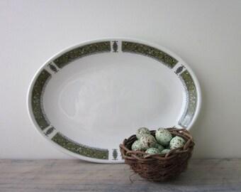 White China Platter with Green Trim Royal Doulton Steelite Marina Pattern