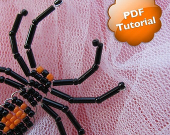 DIY Halloween Spider - PDF Tutorial - Beaded Ornament or Souvenir