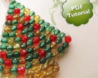 DIY PDF Tutorial - Xmas Tree, Beaded Christmas Ornament or Souvenir