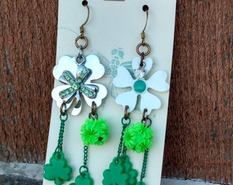 Green Shamrock Earrings - Dangle - Upcycled Vintage jewelry Charms - Shabby Chic - Rhinestone - Neon - Flower Spring - St. Patrick's Day