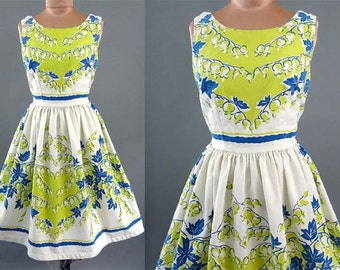RESERVE FOR ELEANOR! Vintage 1950's 50s silhouette Lily of the Valley Novelty Print Chartreuse Blue Mad Men Garden Party Dress