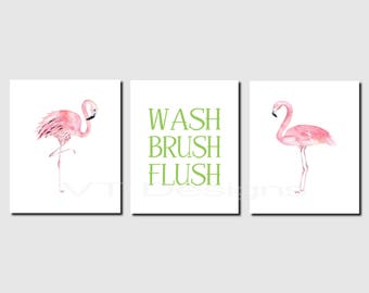 Superbe Flamingo Bathroom Wall Art, Girl Bathroom. Kids Bathroom Art, Wash, Brush,  Flush, Green, Pink, Tropical Bathroom, Set Of 3, Prints Or Canvas