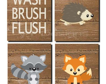 Great Woodland Bathroom Decor, Kids Bathroom Art, Woodland, Woodland Bathroom  Art, Wash, Brush, Flush, Fox, Raccoon, Set Of 4, Prints Or Canvas
